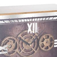Antique Industrial Style Gold Mirrored Moving Mechanism Cog Mantel Clock (H20314